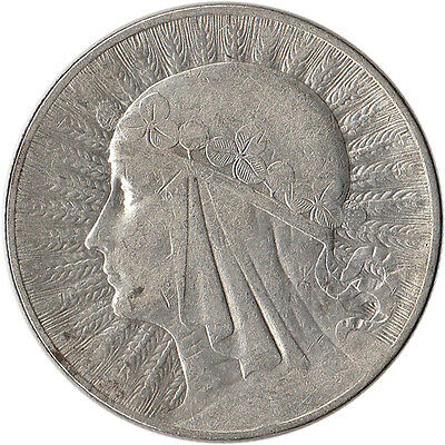 1933 Poland 10 Zlotych Large Silver Coin Y#22