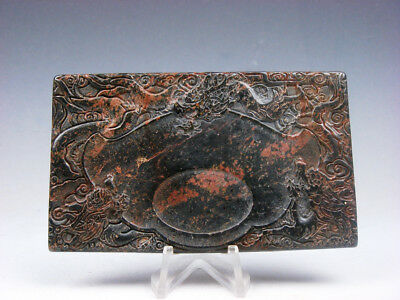 Vintage Nephrite Jade Stone Ink Slab Shaped Paperweight w/ Dragons #05131813