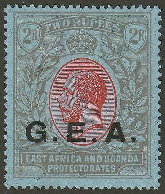 Tanganyika 1921 KGV GEA Opt 2r Red and Black on Blue Mint SG66 cat £55 thin