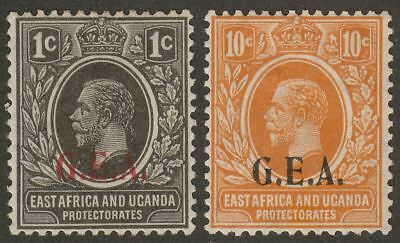 Tanganyika 1922 KGV 1c and 10c GEA Overprints Mint SG72 SG73