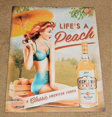 DEEP EDDY Peach VODKA Sexy Red Head Girl TIN Embossed SIGN (Nice++)