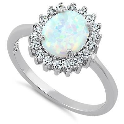 Rhodium Plated Sterling Silver White Opal & Created  Diamond Ring