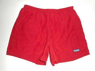 "Vtg PATAGONIA Swim Trunks SOLID RED Bathing Suit BAGGIES Shorts 4"" Lined : LG"