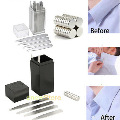 Newest 40 Metal Collar Stays + 10 Magnets For Men Shirts 4 Various Sizes W/ Box