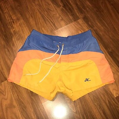 Rare Vtg 70s 80s Striped HOBIE Hawaii Mens 29 Surf Swim suit trunks shorts XS