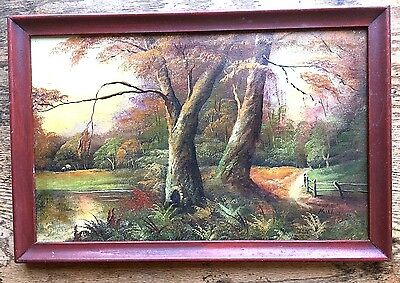 Early 20th Century Landscape Oil Painting FALL IN WOODS Mulholland ANTIQUE