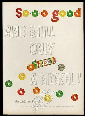 1954 Life Savers five flavor candy Still Only A Nickel vintage print ad