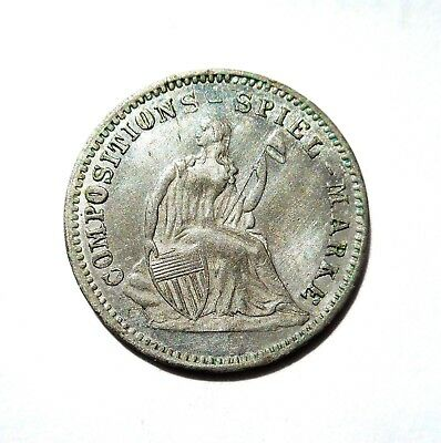 1850's Seated Liberty Spiel Marken/Jeton Solid Eye Appeal