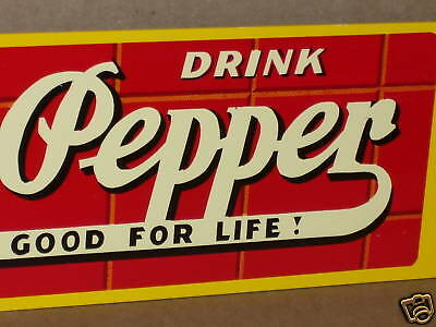 """DR PEPPER -- GOOD FOR LIFE -- Big 23x5"""" Metal -- OLD STYLE Screen Door ... Sign"""