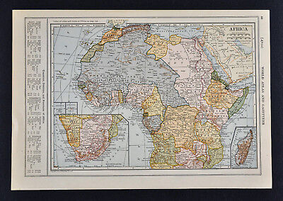 1917 Poates Map - Africa - Egypt Nubia Congo Angola Madagascar Cape Town South