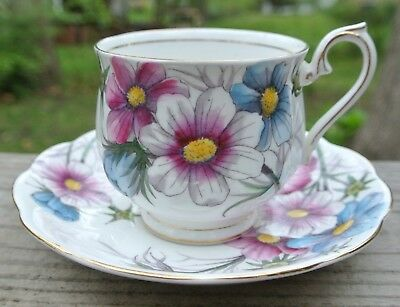 "Royal Albert Mouth of October ""COSMOS"" Bone China Tea Cup & Saucer Hampton Shape"