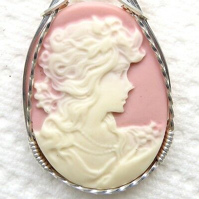 Lady Bride Cameo Pendant .925 Sterling Silver Jewelry Pink Resin