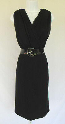VINTAGE 1950s 60s LILLI DIAMOND OF CALIFORNIA EVENING COCKTAIL DRESS BLACK FOLDS