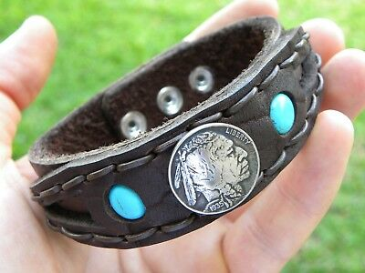 Cuff Bracelet authentic Buffalo Indian Nickel coins Bison leather customize size