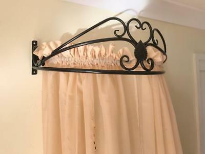 Iron French Style Wall Mounted Canopy Drape Mosquito net Holder+Tiebacks BLK