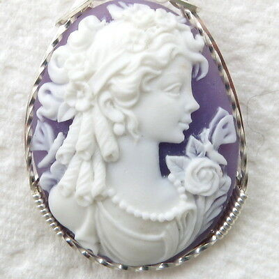 Goddess Dragonfly Cameo Pendant .925 Sterling Silver Jewelry Purple Resin