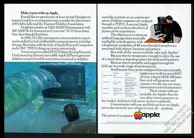 1982 dolphin human communication project photo Apple Computer vintage print ad