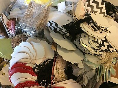 LOT 200 BOUTIQUE Print Paper Merchandise Price Tags with White String RANDOM LOT