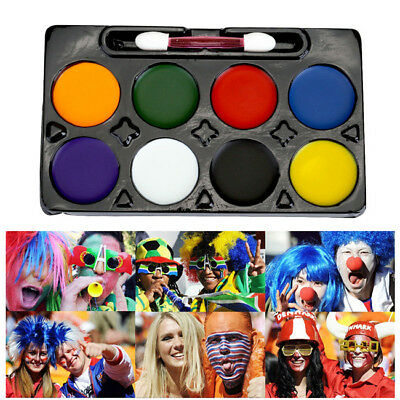 Face Painting Paint Kit Set Halloween Goth Football Game Fans Palette 8 Colors