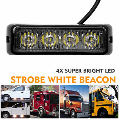 4LED Car Truck White Warning Strobe Emergency Flashing Light Dash Lamp 12V Light
