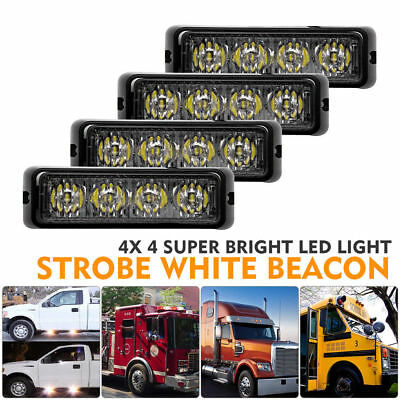 4X 4LED Car Truck White Warning Strobe Emergency Flashing Light Dash Lamp 12V