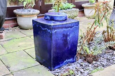 "Large blue glazed chinese ""tea caddy"" garden stool / interior ornament"