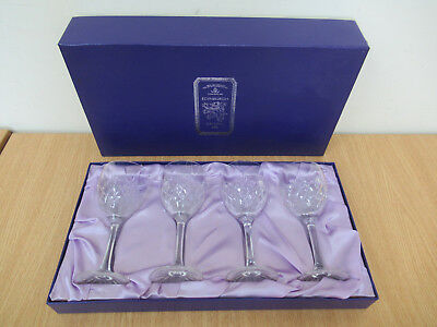 Set of 4 Edinburgh Crystal Wine Glasses in Original Lined Box