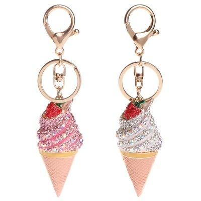Key Ring Cute Ice Cream Strawberry Keychain Jewelry Bag Pendant Gifts Decoration