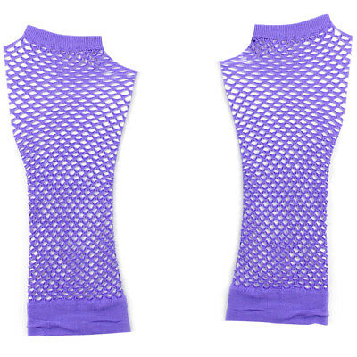 Pair Light Stretchy Fishnet Elbow Fingerless Goth Arm Warmers for Lady