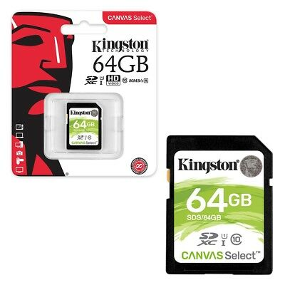 64GB Kingston Canvas Select SDXC SD Memory Card Class 10 UHS-I 80MB/s 64GB
