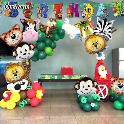 Safari Party Banner Animals Balloons Jungle Theme Kids Birthday Party Decoration