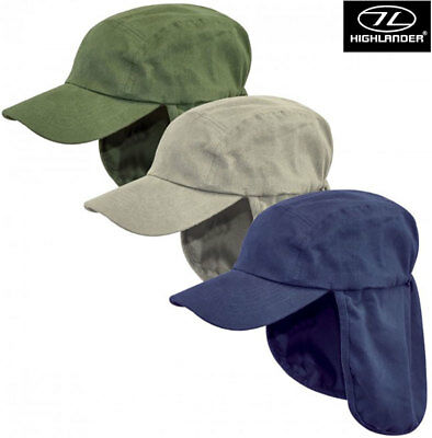 Highlander Fold-up Legionnaires Sun Neck Flap Boonie Peaked Summer Hat Cap New