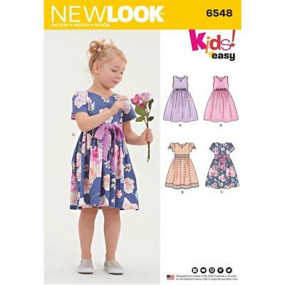 New Look Sewing Pattern Kids Easy Party Special Occasion Dress 3 - 8 6548