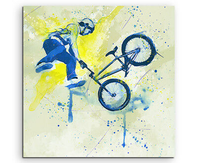 BMX I 60x60cm SPORTBILDER Paul Sinus Art Splash Art Wandbild Aquarell Art