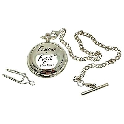 Solid Pewter Fronted Tempus Fugit Mother Of Pearl Quartz Pocket Watch