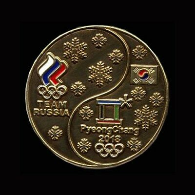 RUSSIA's UNIQUE DATED GOLDEN OLYMPIC NOC PIN - PYEONGCHANG 2018!