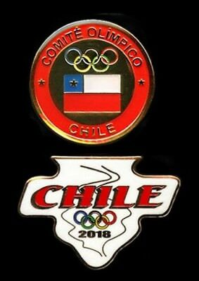 VERY NICE PAIR of CHILE's OLYMPIC NOC PINs - PYEONGCHANG 2018!