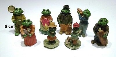 lot de 8 figurines grenouille, bibelot, collection,frog, kikker  G3-02