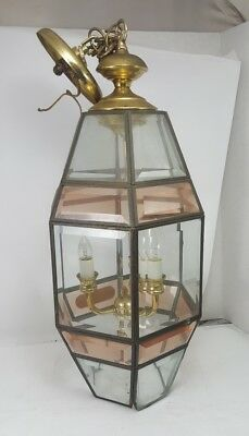 Vintage HANGING LIGHT FIXTURE Beveled Two-Tone Leaded Glass Candelabra Hardwired