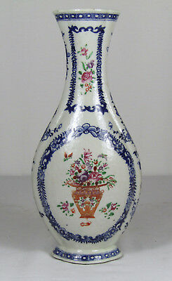 18th c CHINESE BLUE WHITE FAMILLE ROSE VASE