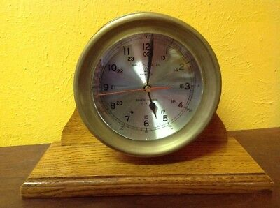 VINTAGE SOLID BRASS BELL CLOCK CO SHIP's Boat Mantel Quartz Clock