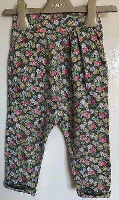 Next Baby Girls Green Floral Patterned Hareem Trousers. Age 12-18 Months