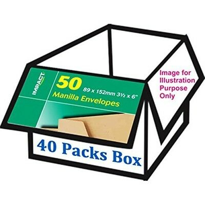 Impact 89mmx152mm Manilla Gummed Envelopes - 40 Packs
