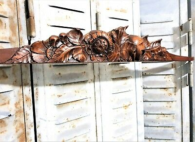 Architectural Flower Pediment Antique French Hand Carved Wood Salvaged Crest