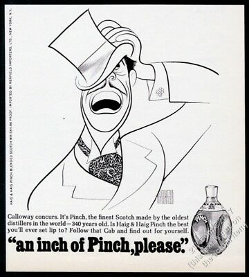 1968 Cab Calloway portrait by Al Hirschfeld Pinch Scotch Whisky vintage print ad