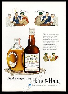 1950 Haig & Haig Five Star and Dimple Scots Pinch Scotch whisky vintage print ad