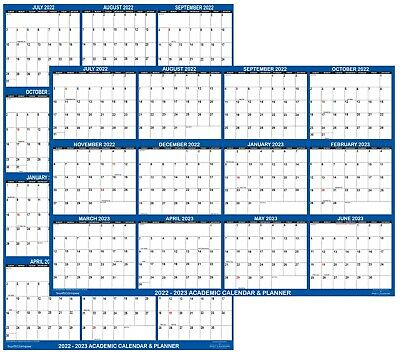 2018 2019 Academic Dry Erase Wall Calendar Yearly Planner Classic Blue 24x36