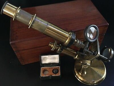 1875 French Lacquered Brass Double Pillar Microscope by C. Verick
