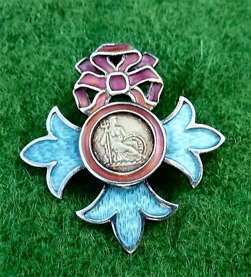 "Silver & Enamel ""british Empire* Pendant ""obe"" Brooch Designed By Norman Grant"