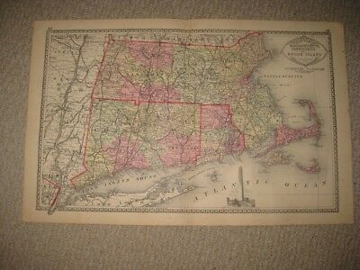 Superb Antique 1886 Massachusetts Connecticut Rhode Island Handcolor Map Boston